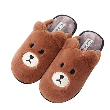 Mashimaro Men's Cotton Shoes Men's Winter Non-slip Cotton Slippers Lovely Plush Cartoon Brown Bear Home Warm Slippers