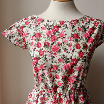 Floral Dress / English Rose Floral Tea Dress in Cream / Handmade/ Choose Your Size