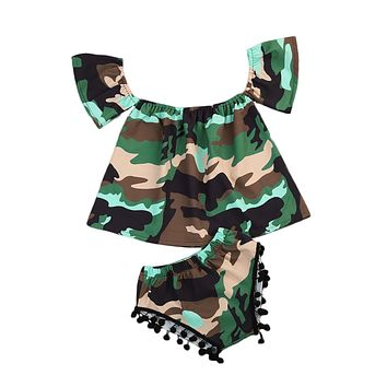 Newborn Baby Girls Camouflage Camo Clothes Off Shoulder Tops+ Tassel Brief Pants 2Pcs Set Outfits Clothes 0-24M