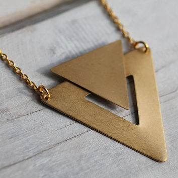 Art Deco Geometric Necklace  Vintage Brass by SilkPurseSowsEar