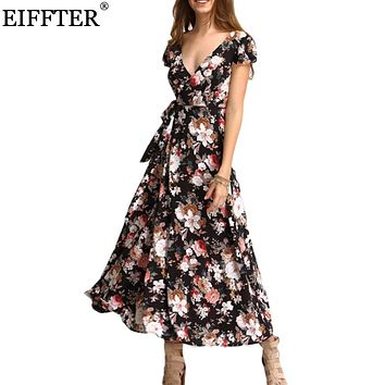 EIFFTER New Arrival Summer Women Fashion Short Sleeve V-Neck Floral Print Maxi Dresses Sexy Beach Long Bind Backless Dress