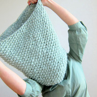Hand Knitted Oversized chunky scarf / snood. 100% Wool. Super soft Norwegian New Wool. Mint