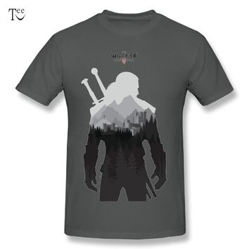 2018 Men's The Witcher 3 - Geralt of Rivia Tee Shirt 100% Cotton T-Shirt Nice T shirt Plus size tees