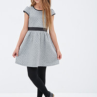 FOREVER 21 GIRLS Quilted Faux Leather-Trimmed Dress (Kids) Grey/Black