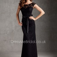 Vogue Lace Cap Sleeve Boat Neck Long Slim Fitted Black V-back Bridesmaid Dress