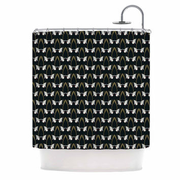 "Mayacoa Studio ""Lilies"" Floral Black Shower Curtain"
