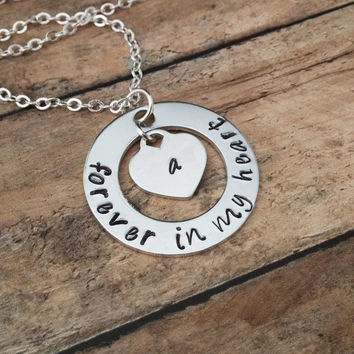 Forever In My Heart Necklace, Memory Necklace, Loss of A Loved One, RIP Necklace, Never Forgotten, Sympathy GIft, Family Member, Friend