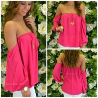 Melrose Fuchsia Off Shoulder Chiffon Top