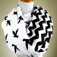 50% off entire shop code: shop50off  Black Bird Chevron infinity scarf- soft jersey knit- Back order