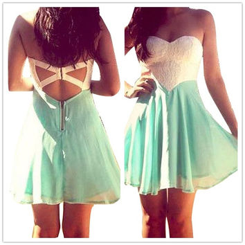 Feelingirl White and Green Strapless Backless Zipper Skater Dress Women Chiffon Mini Dresses = 1696614852