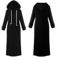 Drawstring Hooded Pullover Maxi Sweatshirt Dress