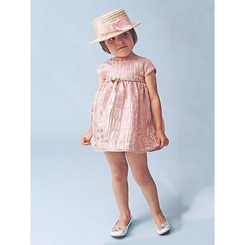 MiMiSol - Baby Girls Peach and Gold Belted Party Dress