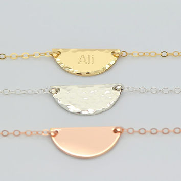 Personalized Half Moon Necklace, Hammered Half Circle Necklace, Minimal Gold Necklace, Rose Gold Geometric Necklace, Simple Silver Necklace