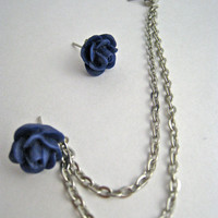 Deep Blue Flower Silver Cartilage Earring