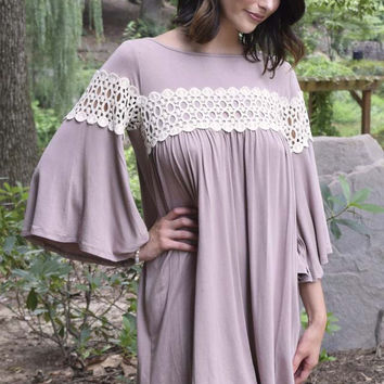 Lace Embrace Shift Dress - Taupe