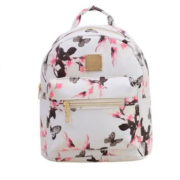 ♡ Floral Print Leather Trendy Backpack ♡