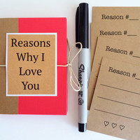Reasons Why I Love You Book, Boyfriend Gift, Mini I Love You Because Book, Husband Gift, Love Notes, Valentines Day Gift, Anniversary Gift