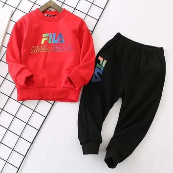 Fila Girls Boys Children Baby Toddler Kids Child Fashion Casual Top Sweater Pullover Pants Trousers Set Two-Piece