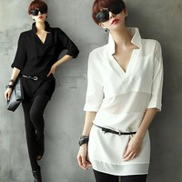 Ladies Shirt New Arrival Europe And America In The Long Section Bottoming Shirt Shirt #1814828-in Blouses & Shirts from Women's Clothing & Accessories on Aliexpress.com | Alibaba Group