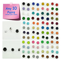 Any 10 Pairs - Stud Earrings Set - Choose Your Colors and Sizes - Earrings Set - Tiny Small Studs Set - Bright Ear Studs - 4mm / 6mm / 8mm