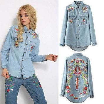2016 New Arrival Long Sleeve Women embroidery Jean Denim Shirt Winter Bottom Shirt P