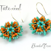 Delicacy - beading earrings pattern / Beading tutorial/ rulla, rizo, bugle, seed beads / TUTORIAL ONLY