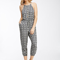 Abstract Print Drawstring Jumpsuit