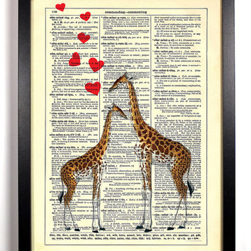 Giraffe Love, Vintage Dictionary Book Page Art Print, 8 x 10 Print
