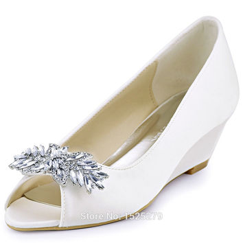 WP1564 White Ivory Evening Women Bridal Bride Peep Toe Party Wedges Med Heel 2'' Pleat Satin Rhinestones Shoes Pomes EU35-42