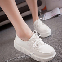 Women's Retro Floral Lace Up Punk Goth High Platform Cross Flat Creeper Shoe Hot