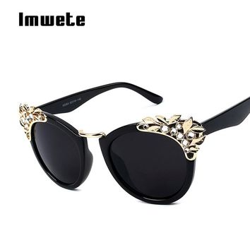 Imwete Rhinestone Diamond Sunglasses Cat Eye Sun Glasses Women Luxury Brande Designer Europe Style Personality Eyeglasses