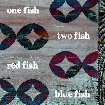 One Fish, Two Fish, Red Fish, Blue Fish - Modern Fish Pattern - Dr. Seuss - 11 x 14 Wall Print