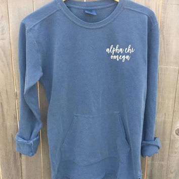New Alpha Chi Omega Comfort Colors Crewneck Pullover // White Ink // You Pick Color // Size S-XL