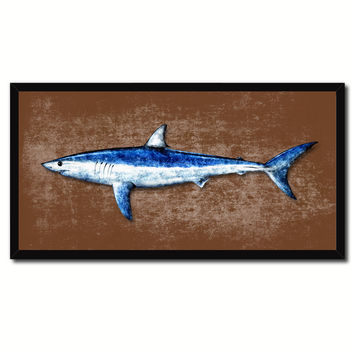 Shark Fish Brown Canvas Print Picture Frame Gifts Home Decor Nautical Wall Art