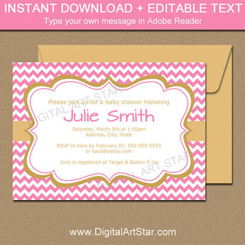 Printable Gold and Pink Invitation - Pink and Gold Baby Shower Invite - Editable Text PDF 1st Birthday Invitation Bridal Shower Invite PGDC