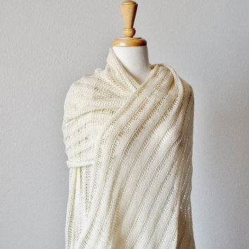 September Sale EYRIE Wrap in Pure Merino Wool. Fall Fashion, Women's Winter Accessories, Mori Girl, Pure White Knitted, Woodland Snow Queen