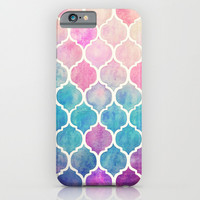 Rainbow Pastel Watercolor Moroccan Pattern iPhone & iPod Case by Micklyn
