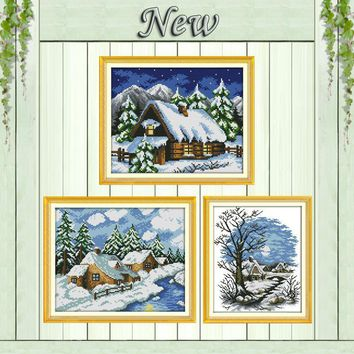 Winter house sonw scenery home decor painting counted print on canvas DMC 11CT 14CT Cross Stitch kits embroidery needlework Sets
