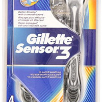 Gillette Sensor3 Smooth Shave Disposable Razor 4 Count (Pack of 3)(Packaging May Vary)
