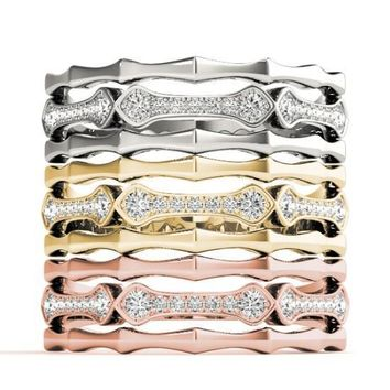 Stackables 1/2 Eternity Tri-Tone Gold Triple Band Pinpoint Set Diamonds 3-Band Set