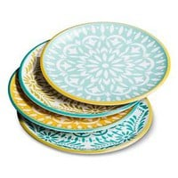 Mudhut™ Marika Melamine Salad Plate Set of 4 - Blue/Gold