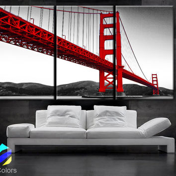 "LARGE 30""x 60"" 3 Panels Art Canvas Print Beautiful Golden Gate Bridge San Francisco California Black White red Wall Home (framed 1.5"" depth)"