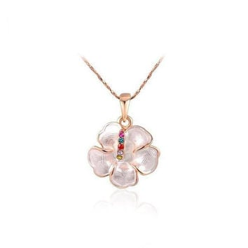 Stylish Gift New Arrival Shiny Floral Jewelry Simple Design Necklace [9283992388]