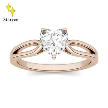Test Positive Charles Colvard Moissanite Heart Ring 0.8ct 6mm VS DEF Real 14K Solid Rose Gold Diamond Fine Jewelry For Women