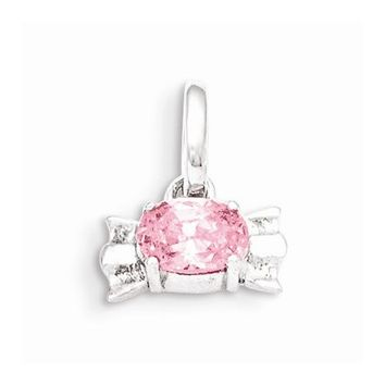 Sterling Silver Pink CZ Candy Pendant