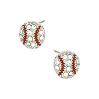 [E/R]-Rhinestone Baseball Post Earrings