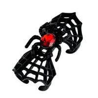 Red Stone in Spider Web Ring Gothic Design Gothic Jewelry