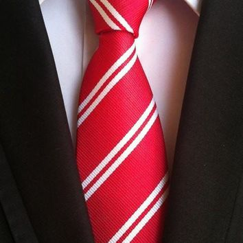 NEW Arrival tie TOP Woven men necktie red with white stripes for grooms wedding