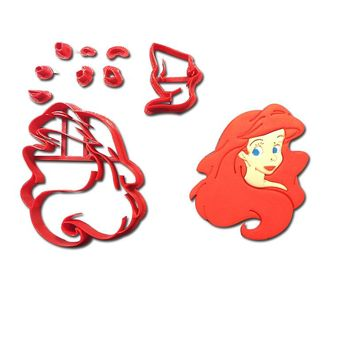 Cartoon Character Cookie Cutter Set Little Mermaid Cake Decorating Tools Custom 3D printed Cupcake Cake Baking Moulds Tools