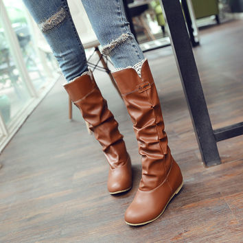 PU Round Toe Hidden Heel Lace Embellished Slouch Boots